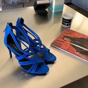 Zara Cobalt Blue Suede Strappy Sandals